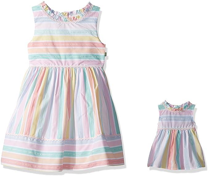 Amazon Com Dollie Me Girls Multi Stripe Dress And Matching Doll