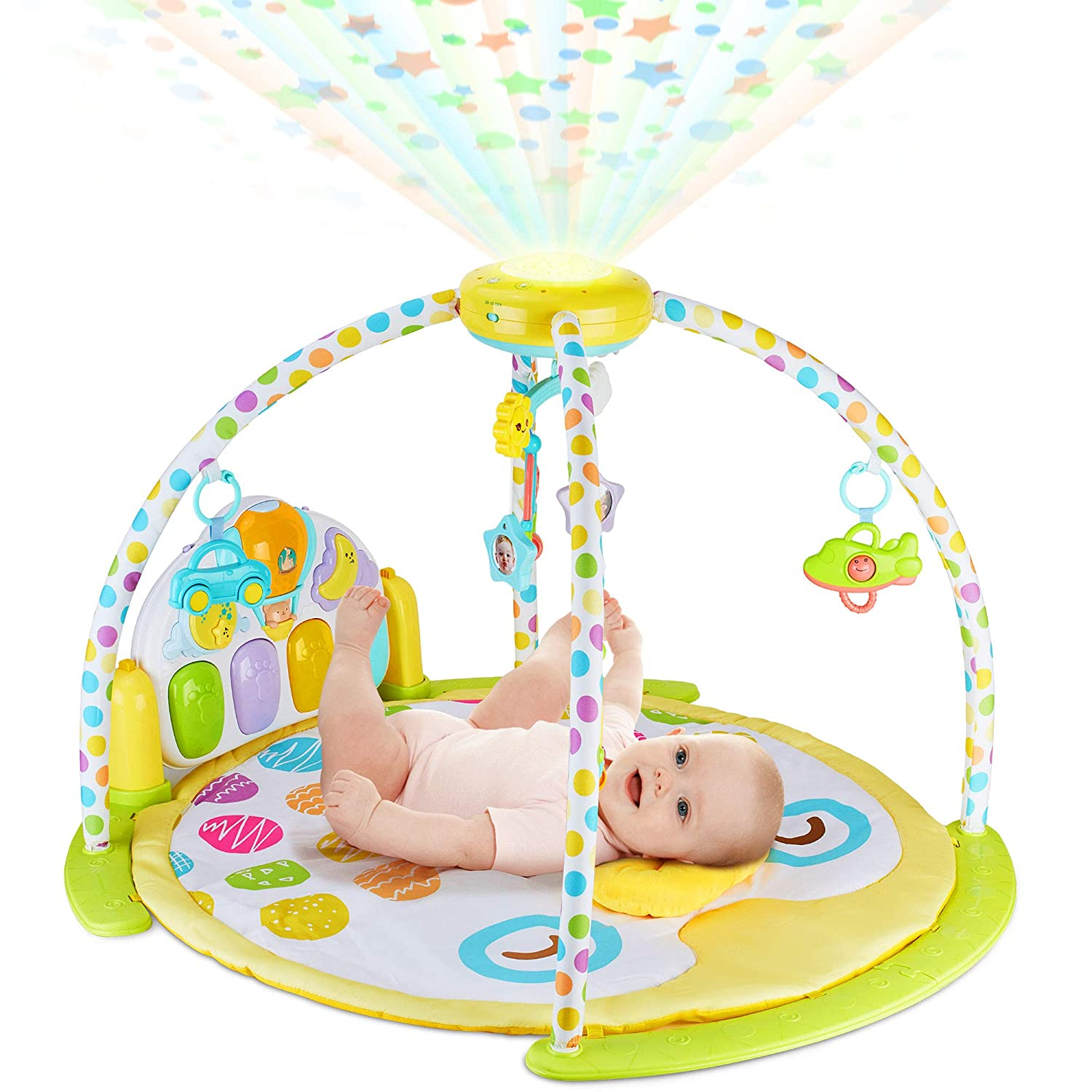 NEW 2019 Baby Gym Kick and Play Piano Activity – 0m+ Large Play & Learn Infant Toys Jungle Gym – Baby Kick Piano Mat with Rotating Star Mobile & Star Projector – Machine Washable Newborn & Toddler Gym BABYSEATER