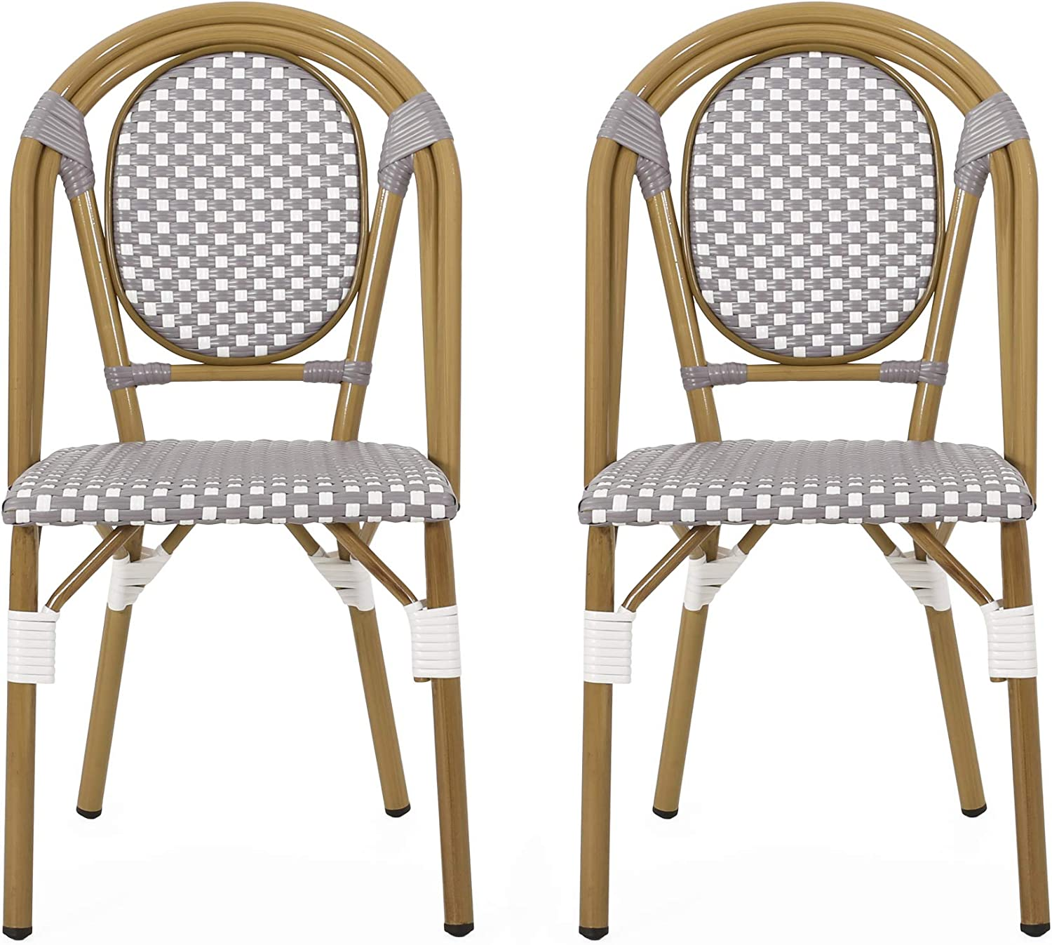 Amazon Com Christopher Knight Home 313245 Gwendolyn Outdoor French Bistro Chairs Set Of 2 Gray White Bamboo Print Finish Garden Outdoor