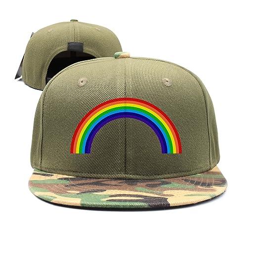 DACHENGXIAOSHI Flat-Brim Baseball Caps Rainbow Snapback Unisex Adjustable  Hat 87f3a8d8621