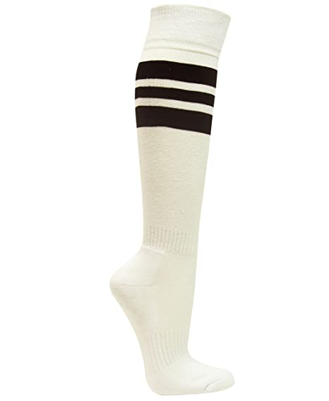 617ceae97 Amazon.com  Couver Premium Quality White Unisex Triple Black Stripe  Baseball Softball Athletic Knee High Socks