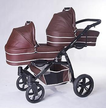Carro gemelar 3en1. Completo: capazos, sillas, sillas de coche, accesorios. BBtwin. polipiel marrón: Amazon.es: Bebé