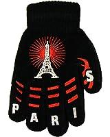 Souvenirs de France - Paire de Gants Enfant 'Paris Tour Eiffel' - Couleur : Noir