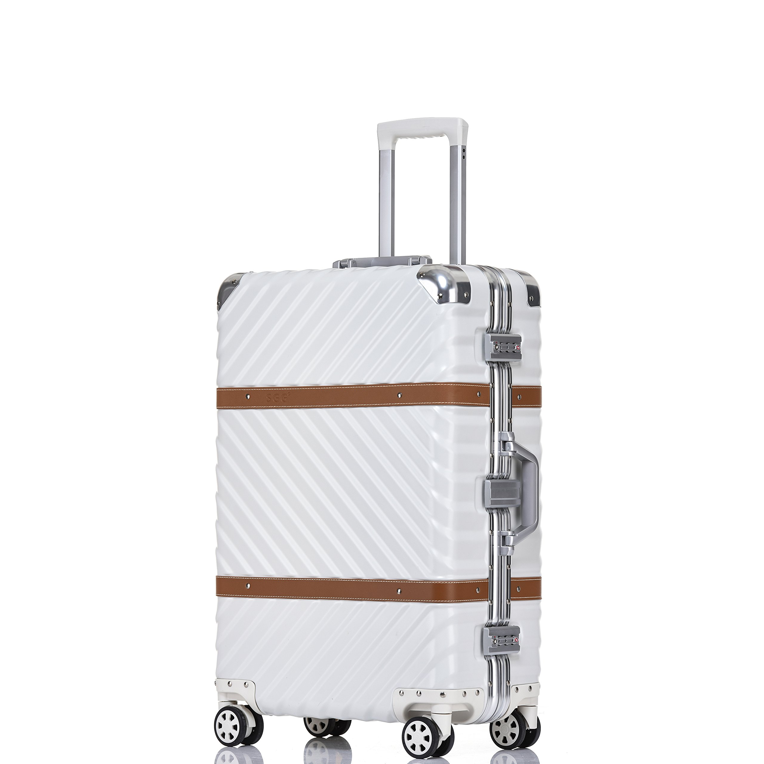 Travel Luggage, Hardside Aluminum Frame Fashion Suitcase with Detachable Spinner Wheels 28 Inch White