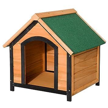 PawHut Caseta de Madera Maciza para Perro Casa de Perro Impermeable con Patas Elevadas para Interior
