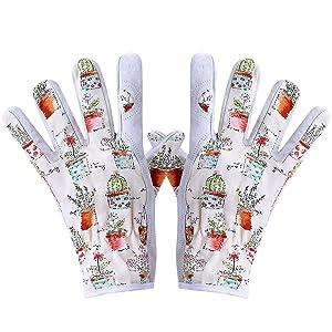 Worth Working Gloves for Women Gardener Planting,Restoration Work,Cute Canvas & Leather Protective Gardening Gloves, Cheerful Bonsai Print Design