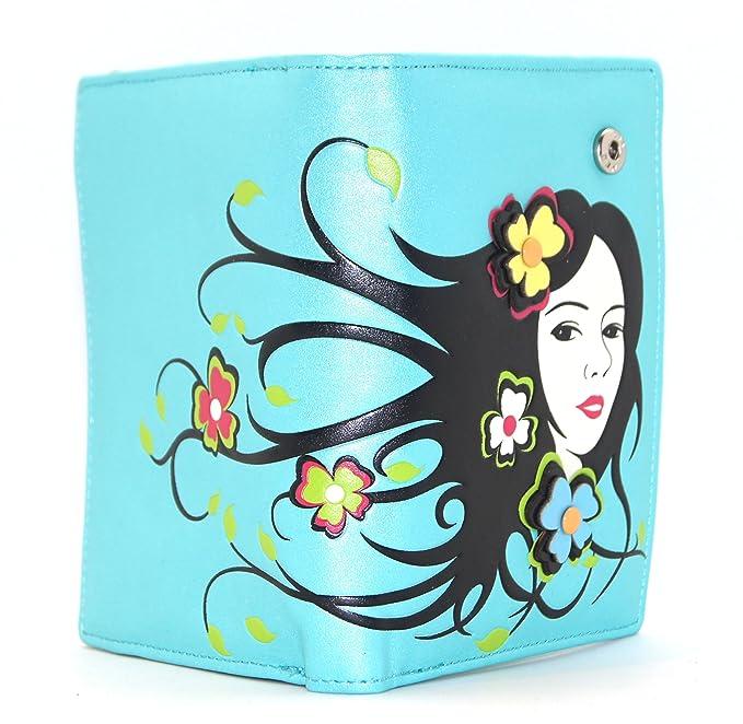 Cartera Billetera Monedero Color Azul Aguamarina. Creativa Marca Menkai.: Amazon.es: Equipaje