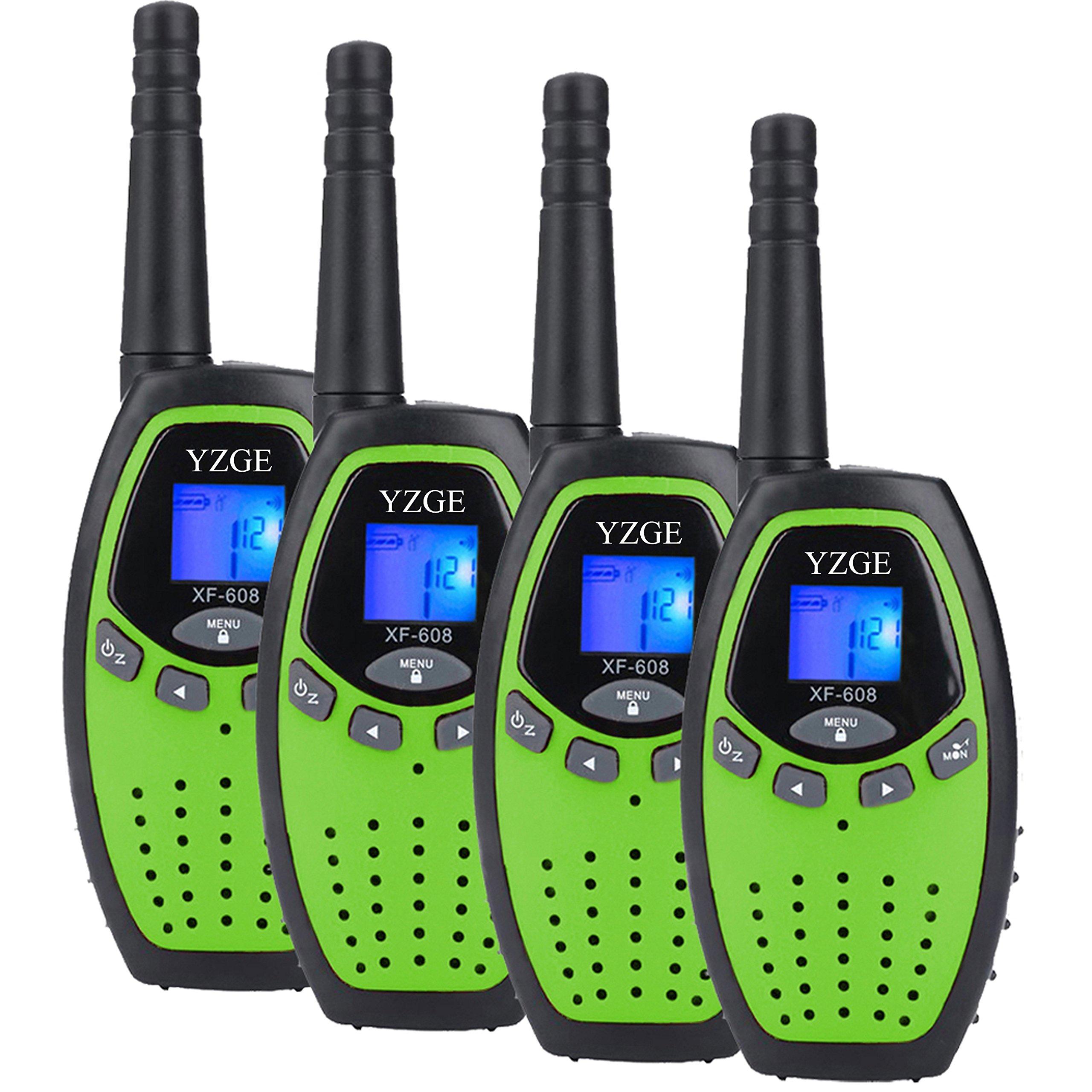 YZGE Walkie Talkies for Kids Two Way Radios Long Range 3km-5km Handheld Walkie Talky 22 Channel Walkie Talkies for Kids Toys for Boys Girls Outdoor(Green,4 Pack)