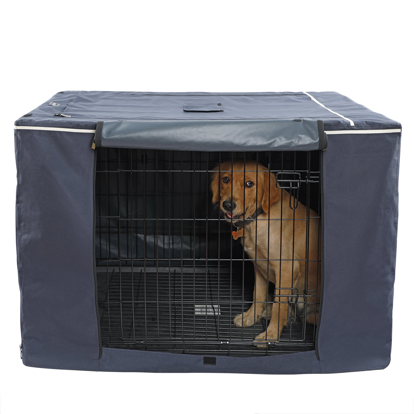 "Petsfit Oxford Cloth Pet Kennel Cover for Wire Dog Crates 42""L x 28""W x 30""H, with Three-Side and Top Windows, Back Zipper, Dark Blue"