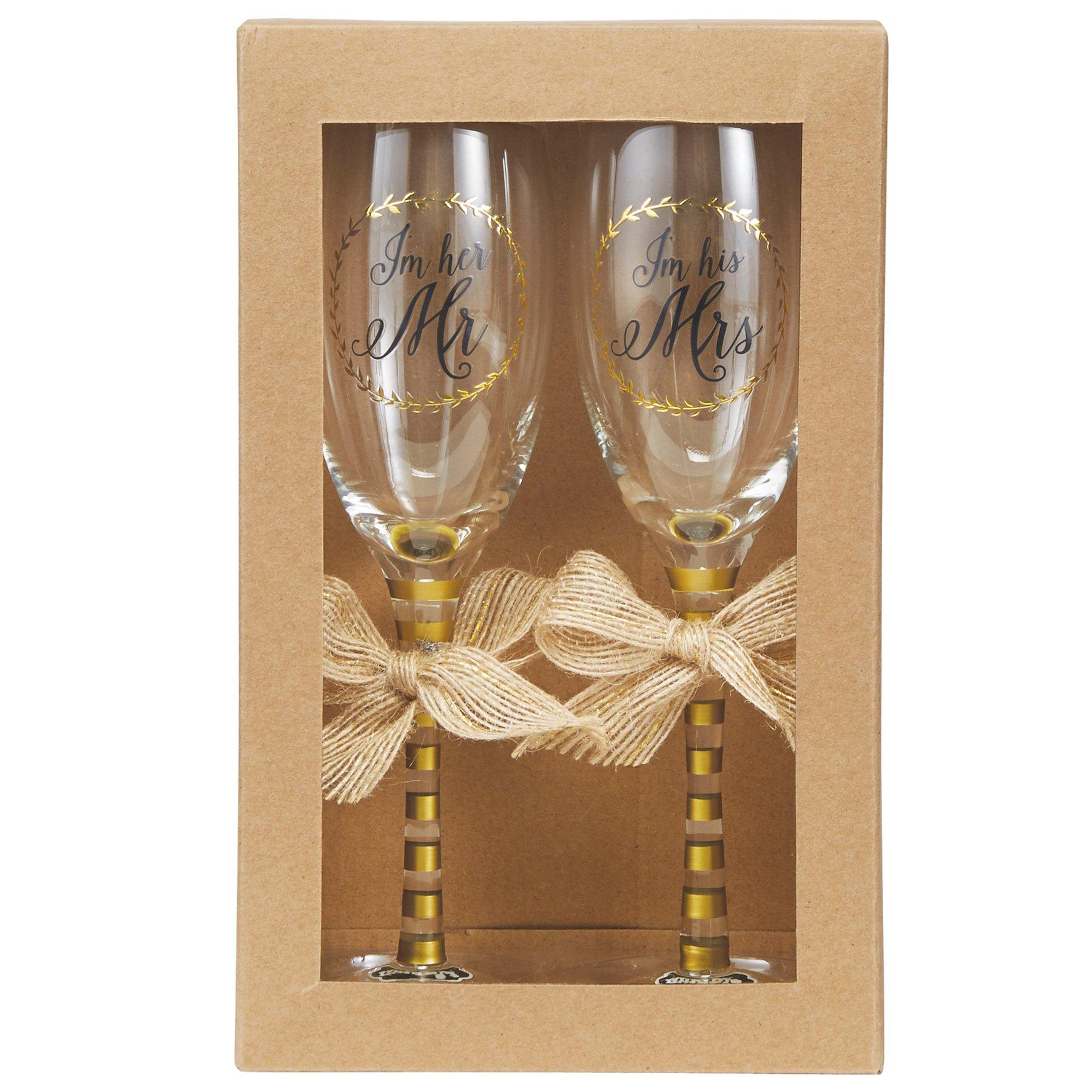 Mud Pie 4465029 Wedding Champagne Glasses Set, Gold