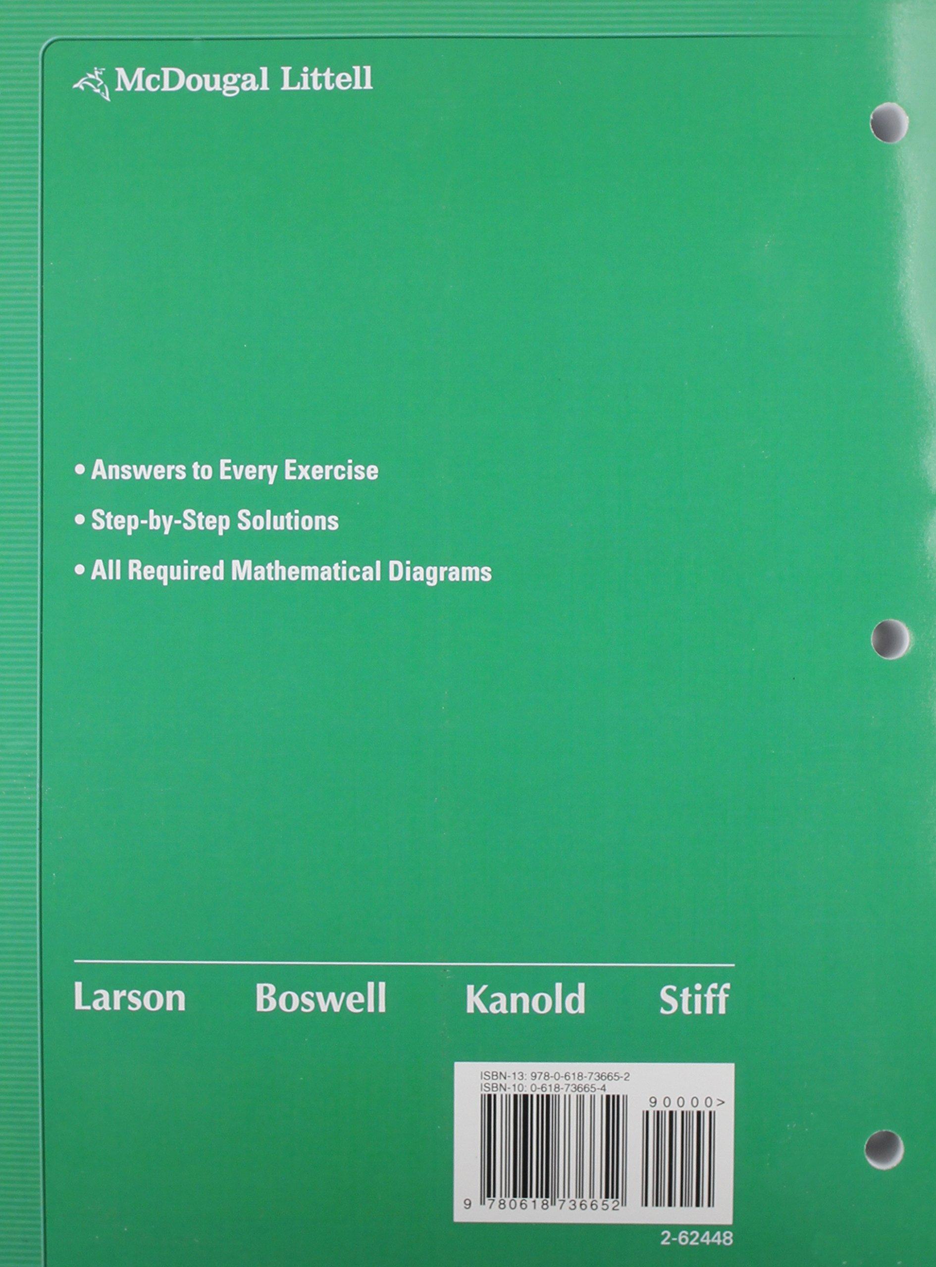 Amazon.com: Holt McDougal Larson Algebra 2: Worked-Out Solutions Key  (9780618736652): MCDOUGAL LITTEL: Books