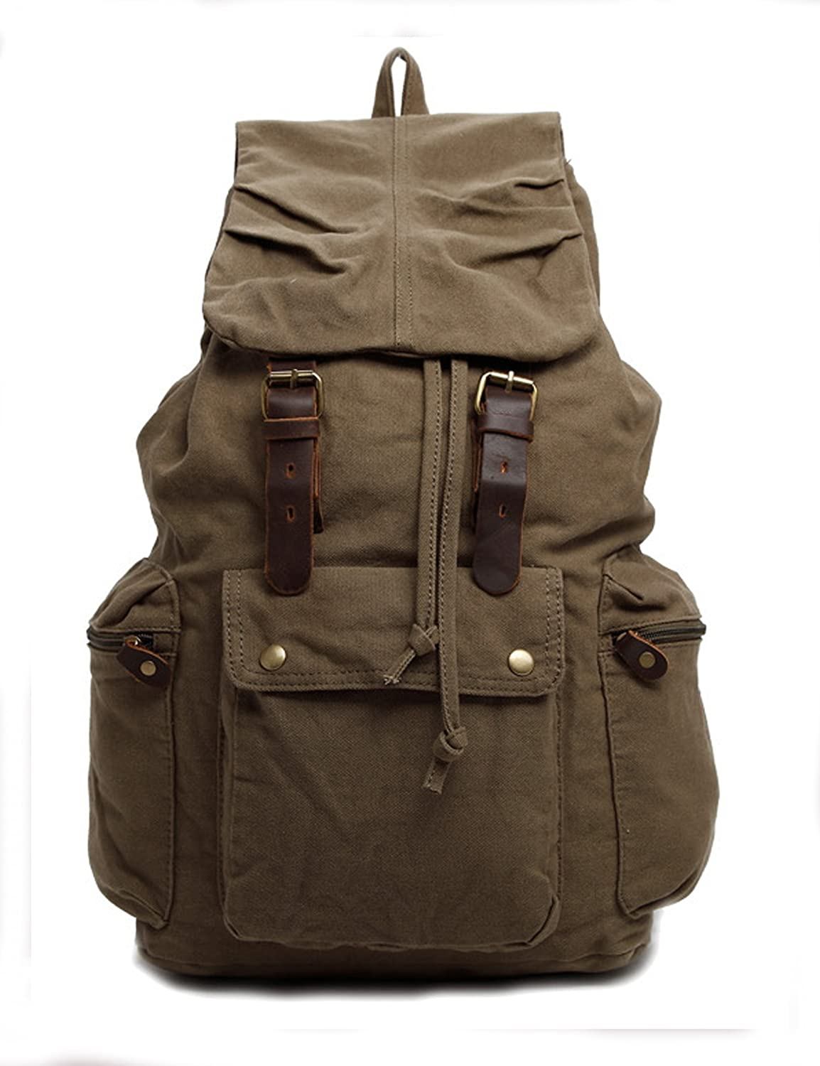 Hynes Eagle Retro Designer Canvas Backpack Large Rucksack 25 Liter Army Green II HY0506