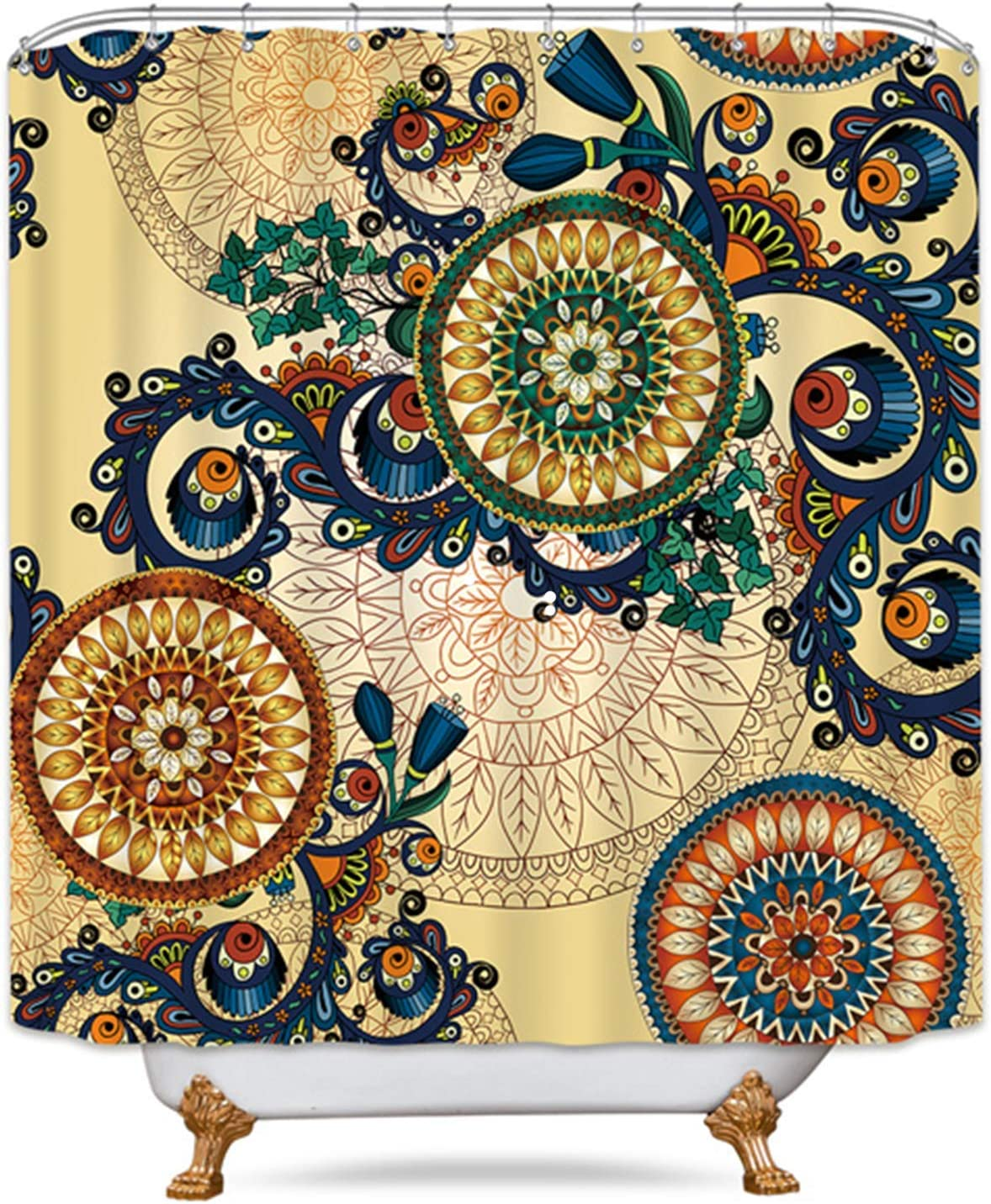 Riyidecor Mandala Shower Curtain Boho Medallion Brown Retro Floral Bohemian 12 Pack Metal Hook India Ethnic Geometric Multicolor Flower Fabric Waterproof Home Bathtub Decor 72x72 Inch