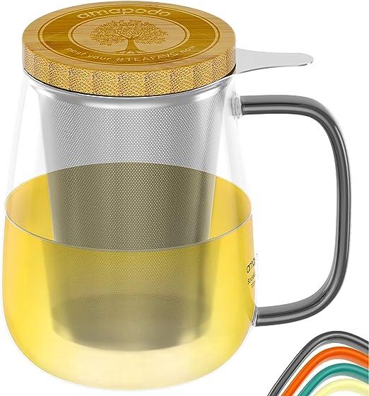 1 Teeglas 700ml Glas amapodo Tetera Transparent Tazas de t/é con colador y Tapa 700 ml