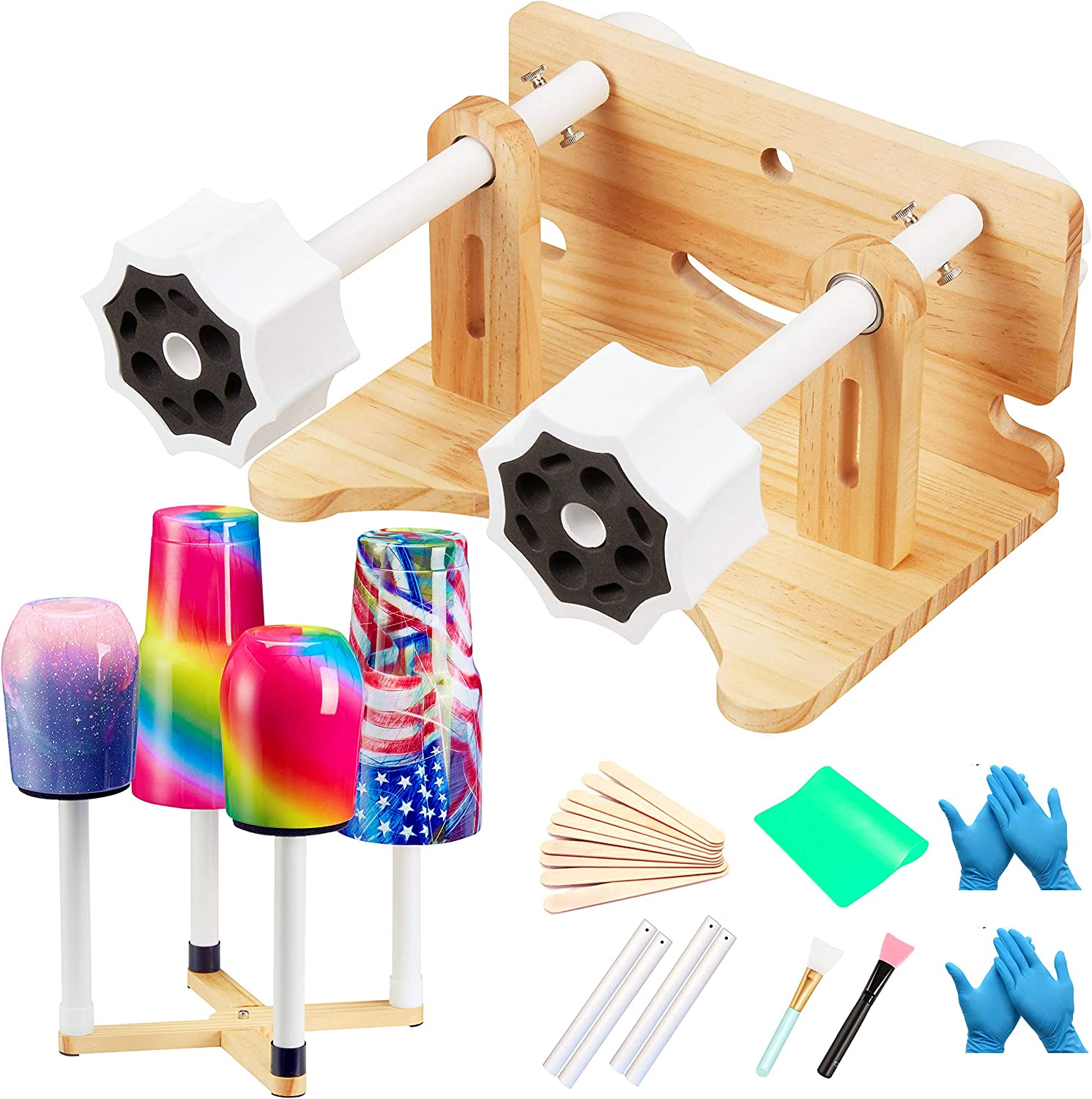 Cup Turner with Silent Motor /& Safety Swith Cup Spinner with Sufficient Accessories Creative Cuptisserie/for DIY Glitter Epoxy Resin Tumblers Crafts Wooden Tumbler Spinner Machine Kit