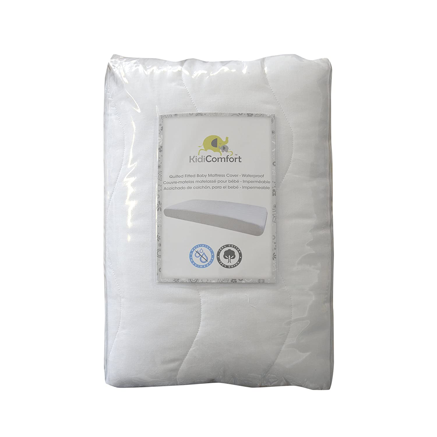 Kidiway CM150 Kidicomfort Quilted Fitted Baby Mattress Cover 100/% cotton waterproof