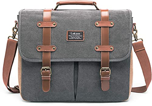LOKASS Mens Messenger Bag 15.6 Inch Canvas Leather Laptop Bag Shoulder Handbag Business Briefcase Large Vintage Satchel Bookbag Crossbody Bag Computer Bag Case for Men, Work, College, Gray