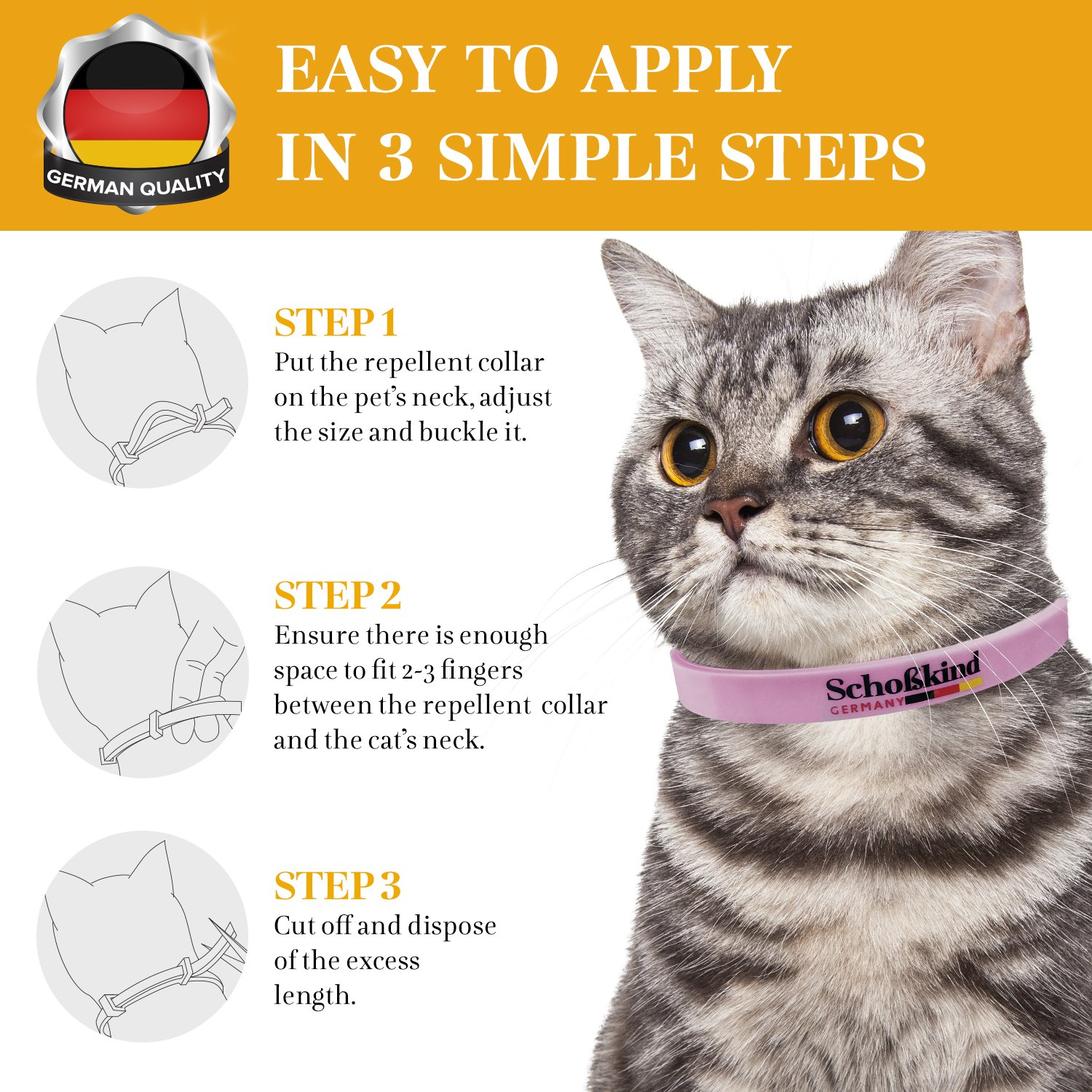 Flea Collar - Tick Collar for Cats - Made for Germany - 100% Safe & Eco-Friendly - Based on Natural Oils - Flea and Tick Prevention Pets - 6-Month Protection - Waterproof Cat Flea Collar (Pink) by Organic Way (Image #3)