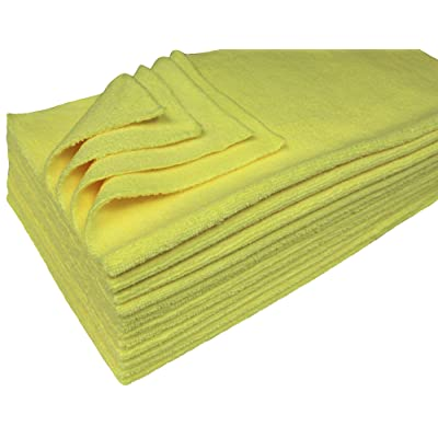 Detailer's Preference Eurow Ultrasonic Cut Maximum Absorption Premium Cleaning Towels 350gsm Yellow 16 x 16 Inches 12 Pack: Automotive