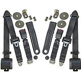 HFS Jeep Seat Belts - 3 Point Kit - Jeep CJ (5, 7 & 8) Black Webbing Housing