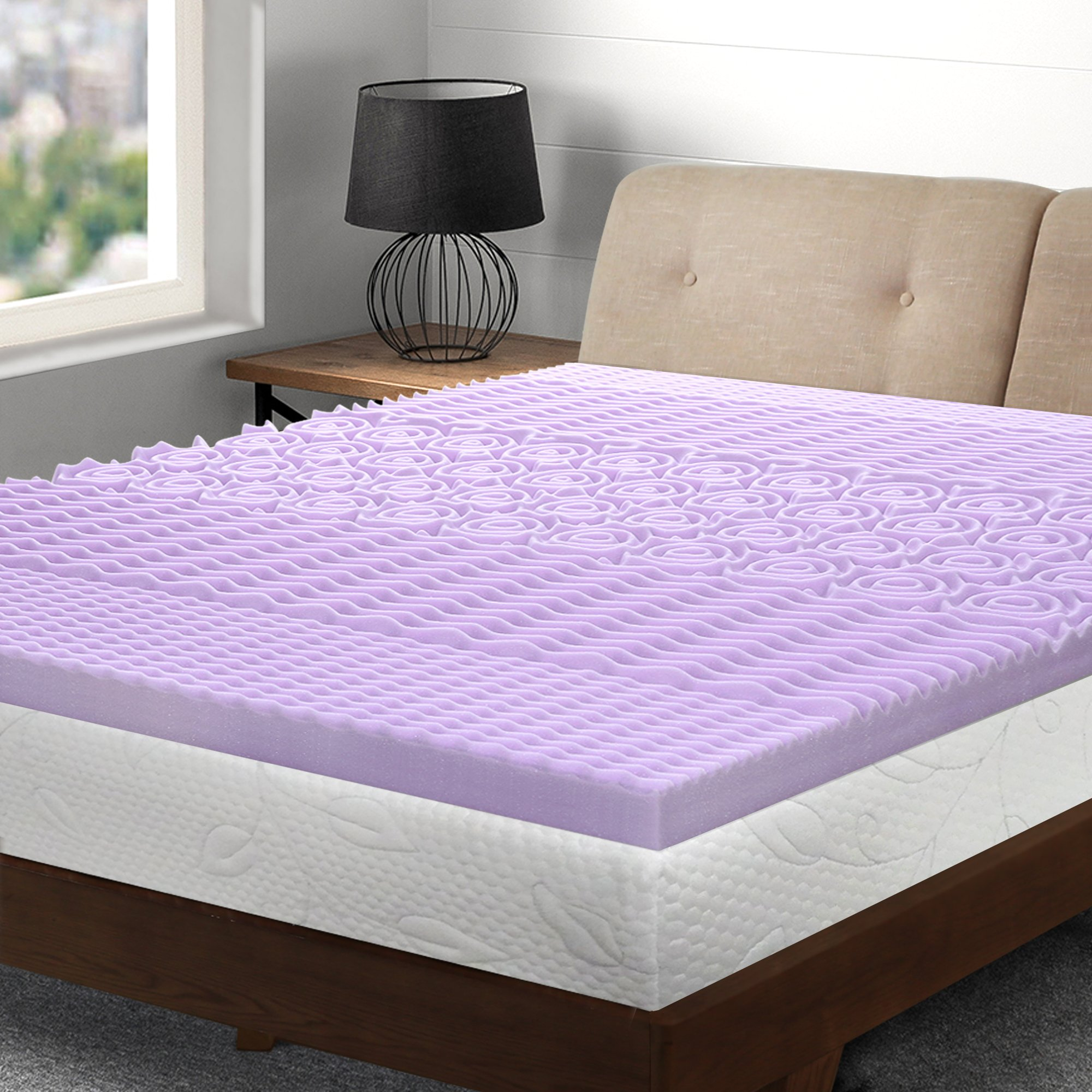 Best Price Mattress Twin Mattress Topper - 3 Inch 5-Zone Memory Foam Bed Topper with Lavender Infused Cooling Mattress Pad, Twin Size
