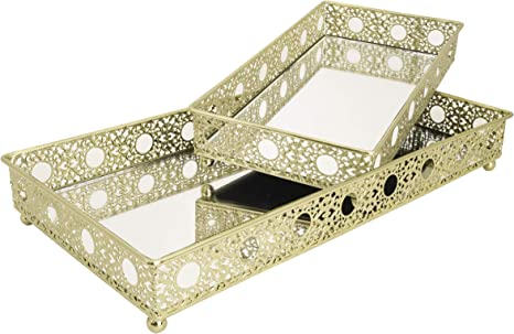 Amazon Com Set Of 2 Bathroom Vanity Tray Decorative Tray Mirror Tray Serving Tray Perfume Collection Tray Candle Tray Kitchen Dining