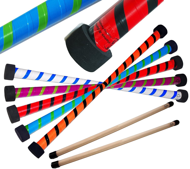TWIST Devil Stick Set with Wooden Control Hand Sticks! (Purple/Green) by Flames N Games Devilsticks