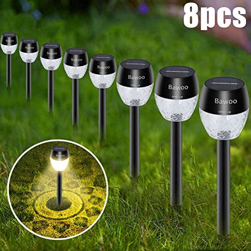 Solar Outdoor Lights Pathway, Solar Garden Light, Waterproof Sun Powered Landscape Lighting Kit for Yard, Lawn, Patio 8 Pack
