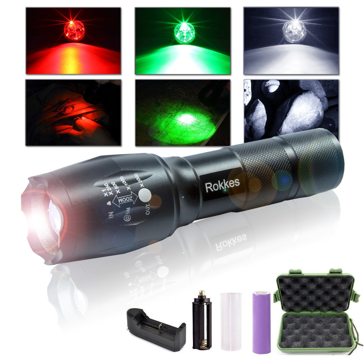ROKKES LED Rechargeable Handheld Flashlight - Zoomable, Professional Ultra Bright 1500 Lumens from 3 CREE LEDs Torch, RGB 3 Colors Light, Tactical Portable Flashlights with 18650 Battery by ROKKES