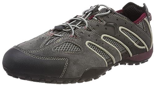 Geox Herren Uomo Snake J Sneaker, Grau (Dk GreyRuby), 44 EU