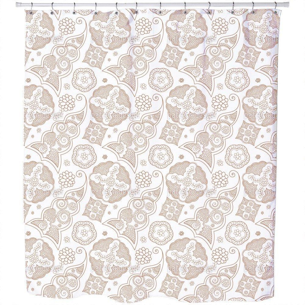 Uneekee Floriental Brown Shower Curtain: Large Waterproof Luxurious Bathroom Design Woven Fabric by uneekee (Image #1)