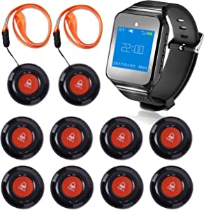CallToU Wireless Wrist Pager Smart Call System Caregiver Pager, Nurse Calling Alert for Elderly/Patient/Disable at Home 1 PC Receiver Alert Pager 10 PCS Fixed Mounted/Portable Call Buttons 500+Feet