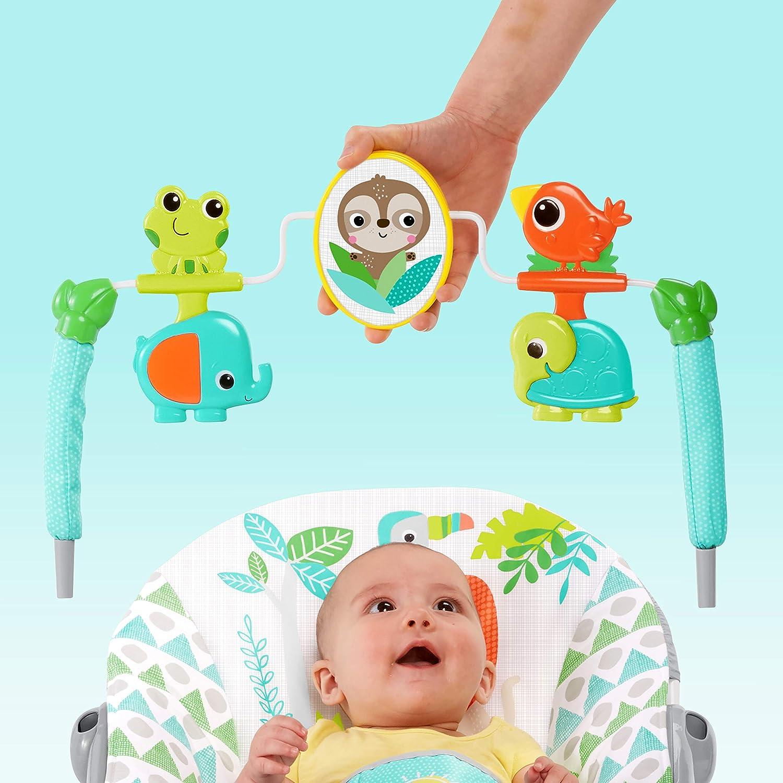 Bright Starts T/ürkis Abnehmbarem Spielbogen und Interaktiven Spielzeugen 11188 Monkey Business mit Vibrationen Babywippe