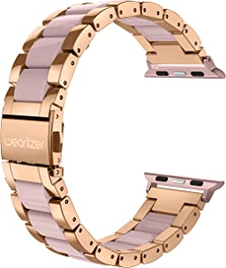 Wearlizer Compatible with Apple Watch Band 42mm 44mm Fashion Wristbands Womens for iWatch SE Stainless Steel and Resin Replacement Metal Clasp Strap, Series 6 5 4 3 2 1 Sport-Dark Rose Gold+Pink