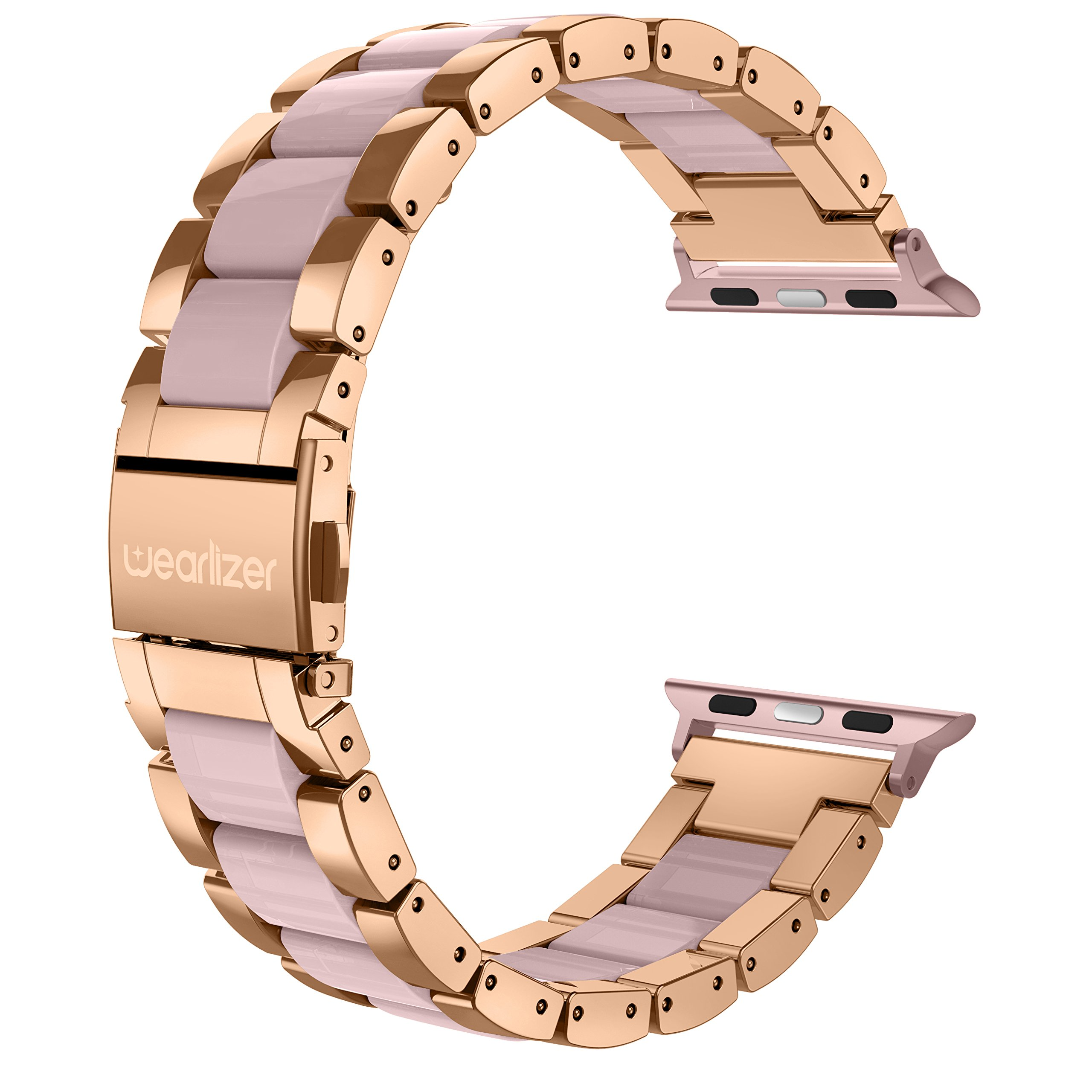 For Apple Watch Band 38mm, Wearlizer Fashion Metal Wristbands Replacement iWatch Stainless Steel Strap for Apple Watch Series 3, Series 2, Series 1, Sport, Edition-38mm Dark Rose Gold + Pink