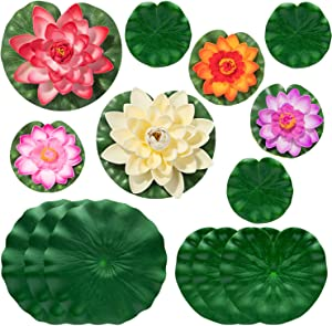 14Pcs Lily Pads for Ponds, Artificial Water Lily Pads - Realistic Lily Pads Leaves for Garden Koi Fish Pond Aquarium Pool Wedding Decor