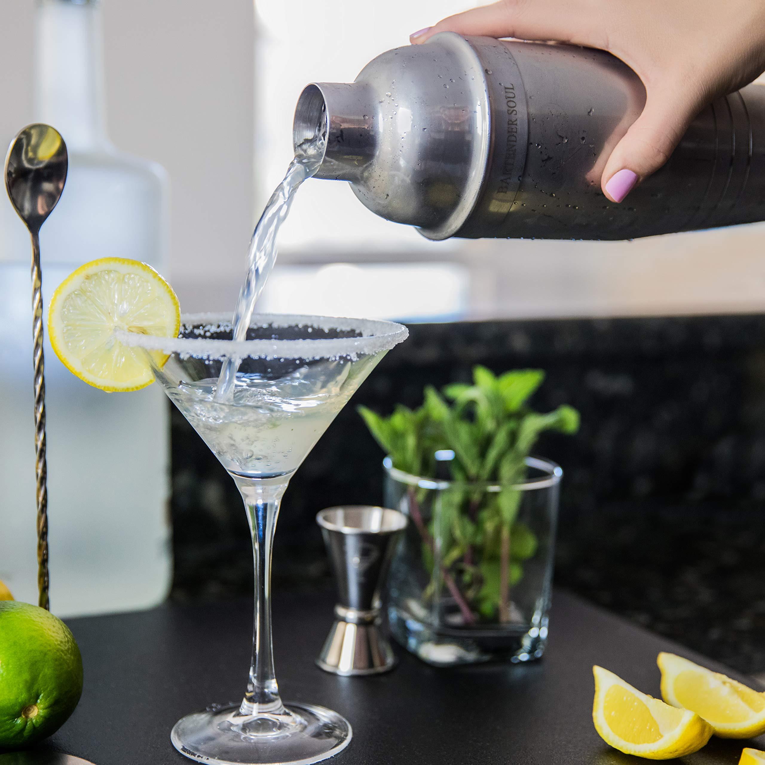 Shaker Cocktail Professionnel de Bartender Soul (750ml) avec Passoire Intégrée - Résistante Acier Inoxydable d\'Épaisseur 0.8mm et Qualité 18/8 304 Réel - Verre Jigger Double et Recettes Inclus