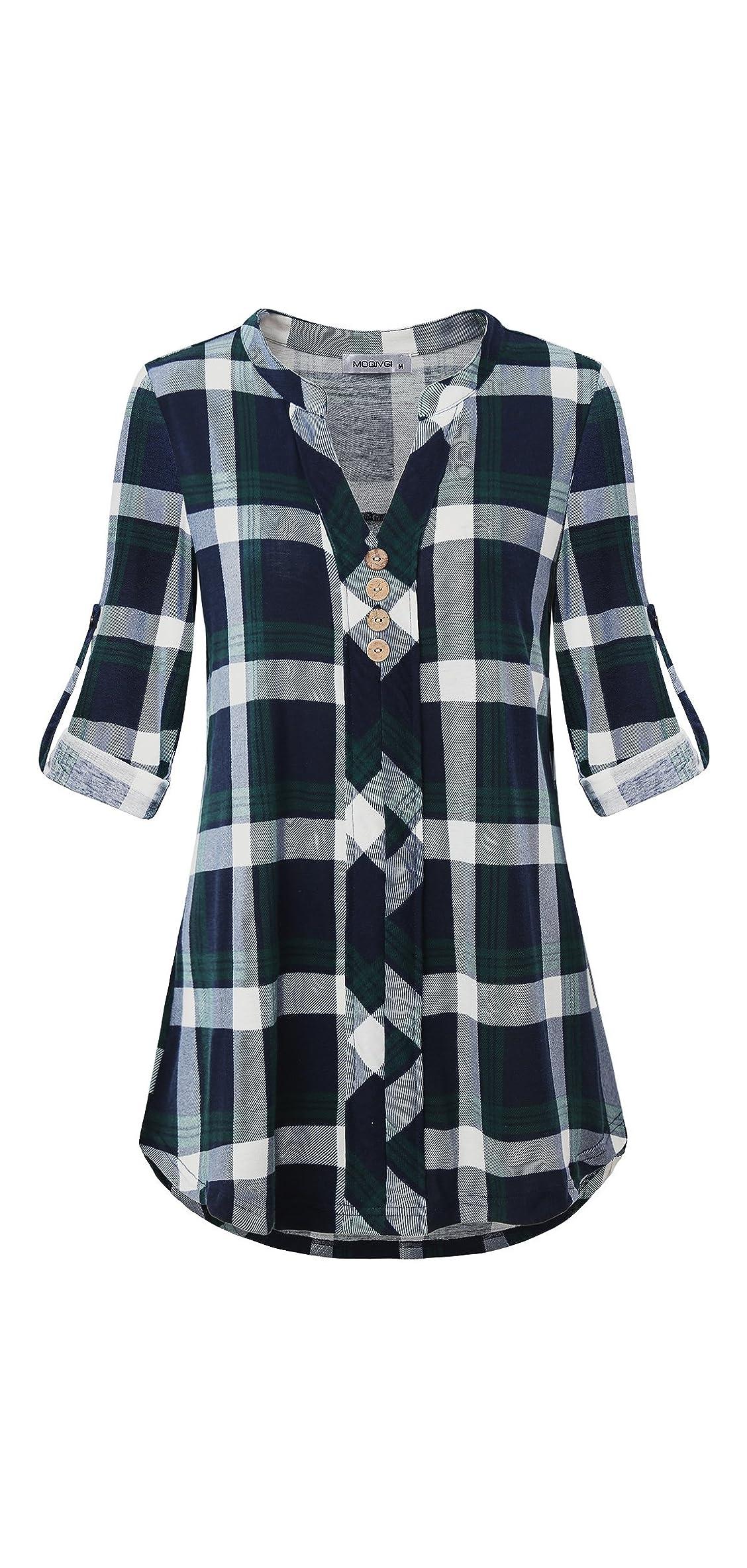 Womens Roll Tab Sleeve V Neck Plaid Shirts Trendy Casual