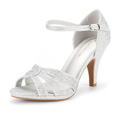 caf8ba5e9c8b08 DREAM PAIRS Women s Amore 1 Silver Glitter Fashion Stilettos Open Toe Pump  Heel Sandals Size 5 B