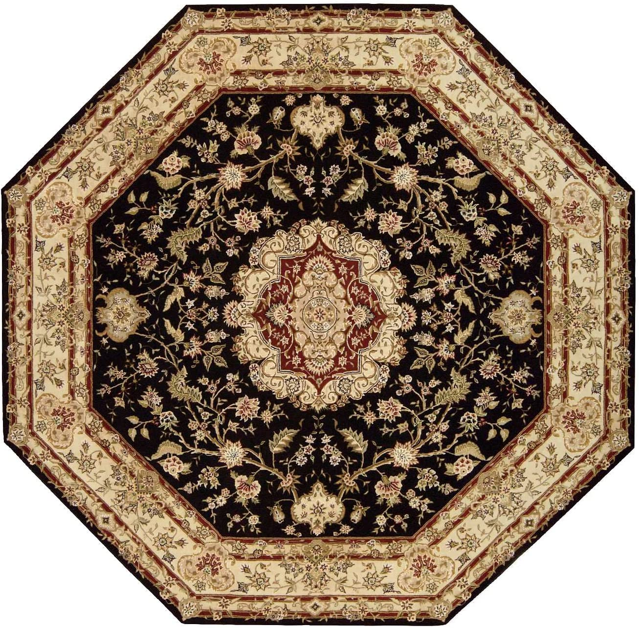 Nourison Traditional 2028 Area Rug 10 X 10 Black Octagon