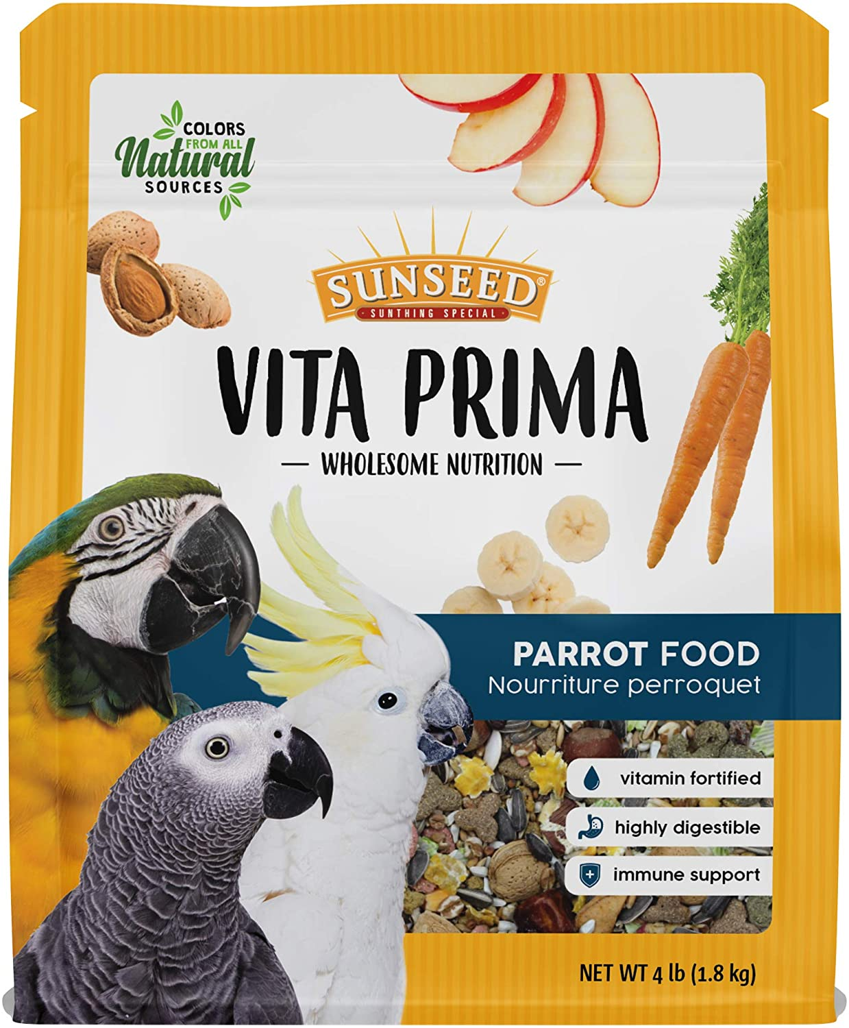 Sunseed Vita Prima Wholesome Nutrition Parrot Food, 4 LBS