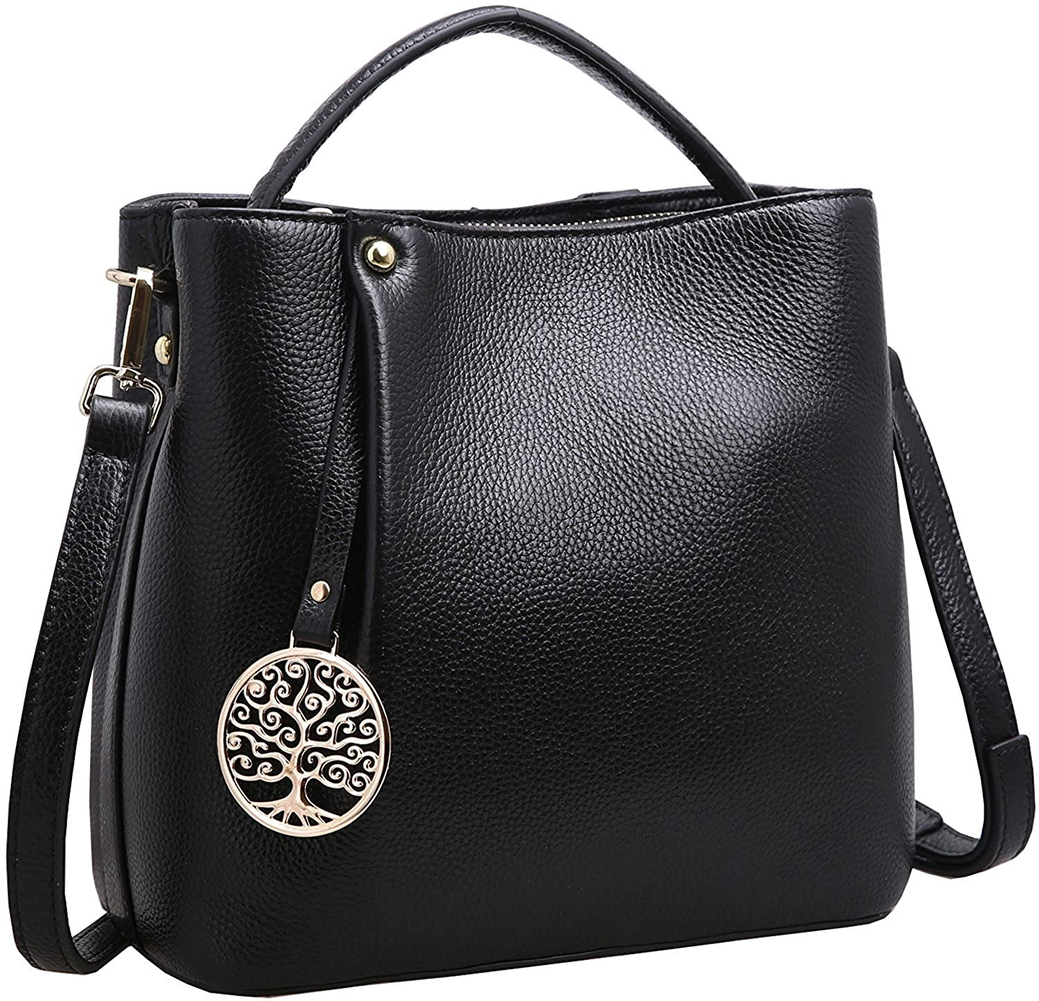 ffa366fca64c Iswee Women s Genuine Leather Bucket Bag Small Tote Purse Top Handle Handbag  Crossbody Shoulder Bag Messenger Bag for Women (Black)  Handbags  Amazon.com