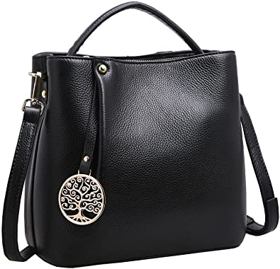 52931e018c89 Iswee Women s Genuine Leather Bucket Bag Small Tote Purse Top Handle Handbag  Crossbody Shoulder Bag Messenger