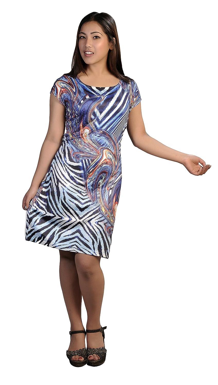 Damen kurze Ärmel Kleid mit bunten Druck