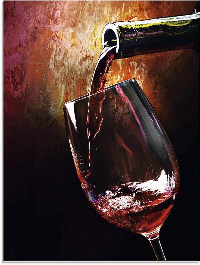 Bild auf Leinwand Fensterblick Rotwein im Glas mit Flasche und Fass auf rustikal