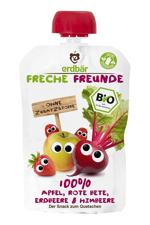 Freche Freunde Bio Quetschie100% Apfel, Rote Bete, Erdbeere, Himbeere, 12er Pack (12 x 100 ml) Himbeere erdbär GmbH 5597