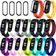 20 Pieces Strap Replacement Compatible with Xiaomi Mi Band 6 / Xiaomi Mi Band 5 / Amazfit Band 5, Bands for Mi Band 5 Bracelet Wristbands Silicone for Mi Fit 5 Straps (16 Colors + 4 Screen Protector)