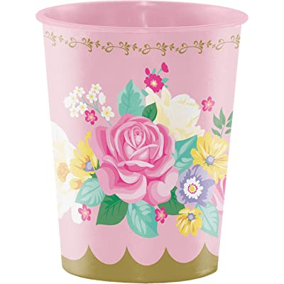 Floral Tea Party 16 oz Plastic Cups, 8 ct: Toys & Games