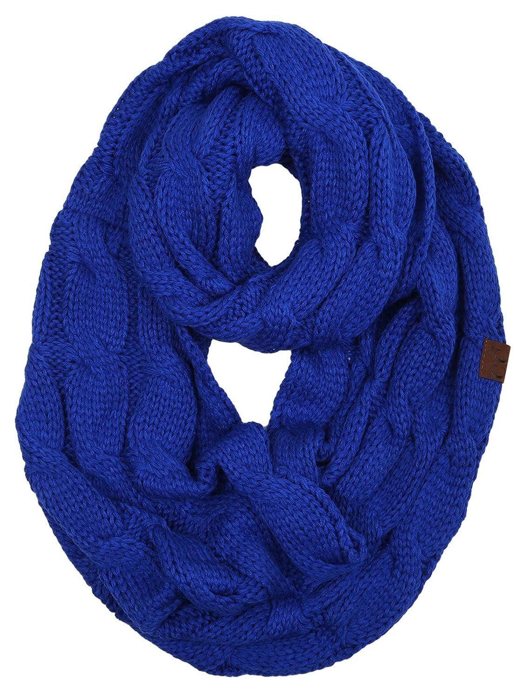 Funky Junque 's c.c Beanies Matchingリブ編み冬暖かいケーブルニットインフィニティスカーフ B075V9YRZC ロイヤルブルー ロイヤルブルー