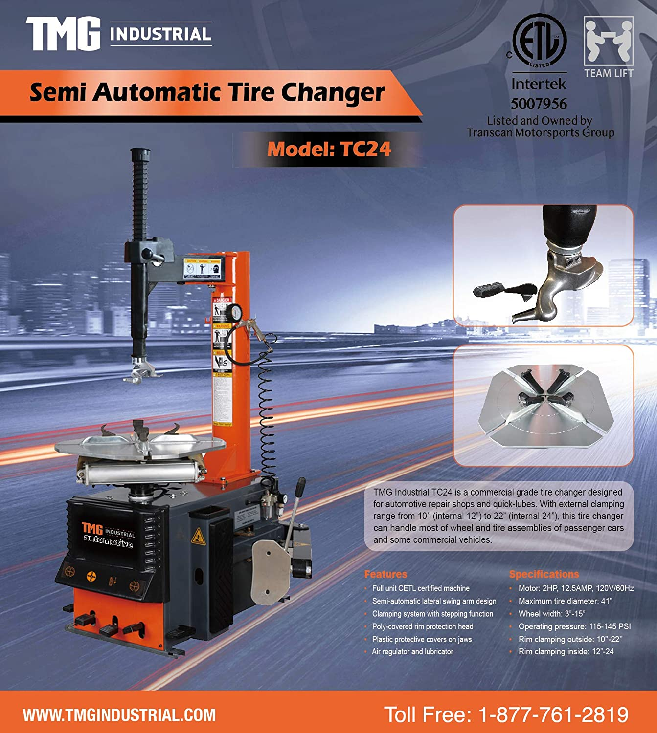 TMG TC24-2HP Semi Automatic Tire Changer